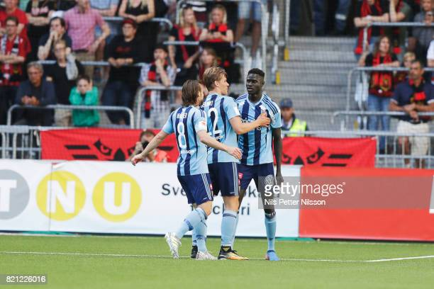 Aliou Badji of Djurgardens IF celebrates after scoring to 20 during the Allsvenskan match between Djurgardens IF and Ostersunds FK at Tele2 Arena on...