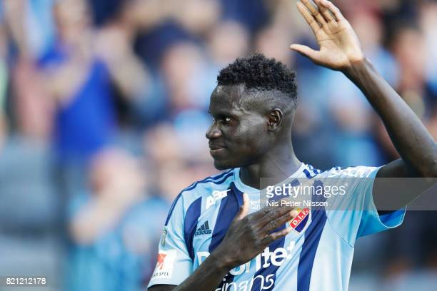Aliou Badji of Djurgardens IF celebrates after the victory during the Allsvenskan match between Djurgardens IF and Ostersunds FK at Tele2 Arena on...