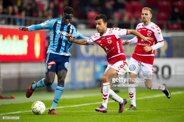 Aliou Badji of Djurgardens IF during the allsvenskan match between Kalmar FF and Djurgarden IF at Guldfageln Arena on November 5 2017 in Kalmar Sweden