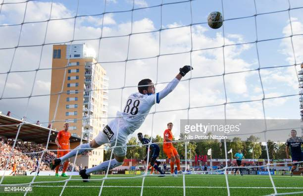 Aliou Badji of Djurgardens IF scores the opening goal to 01 during the Allsvenskan match between Athletic FC Eskilstuna and Djurgardens IF at...