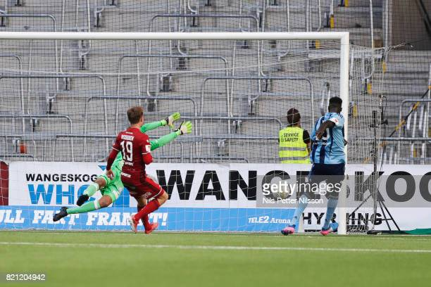 Aliou Badji of Djurgardens IF scores to 20 during the Allsvenskan match between Djurgardens IF and Ostersunds FK at Tele2 Arena on July 23 2017 in...