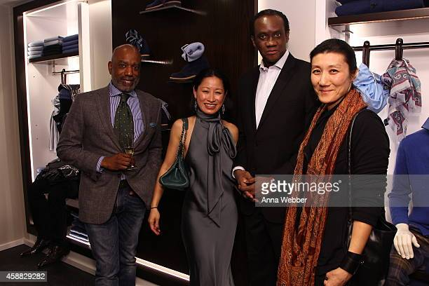 Alioune N'diaye Kayley Rosenthal Moctar Fall and Jin Seo attend DuJour magazine's premier opening event Tincati Milano Concept Store on November 11...