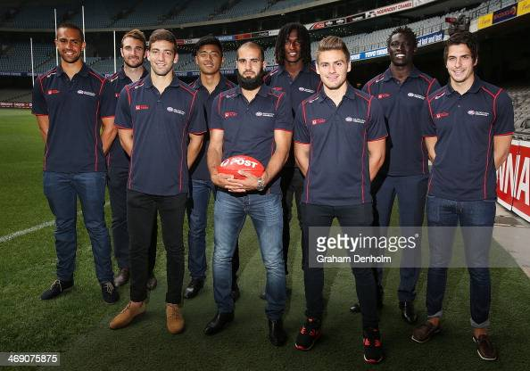 Alipate Carlile Jobe Watson Jimmy Toumpas Lin Jong Bachar Houli Nic Naitanui Stephen Coniglio Majak Daw and Patrick Karnezis pose during the launch...