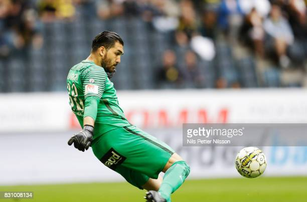 Alireza Haghighi goalkeeper of Athletic FC Eskilstuna during the Allsvenskan match between AIK and Athletic FC Eskilstura at Friends arena on August...