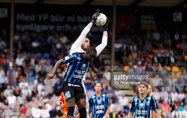 Alireza Haghighi of Athletic FC Eskilstuna makes a save during the Allsvenskan match between IK Sirius FK and Athletic FC Eskilstuna at Studenternas...