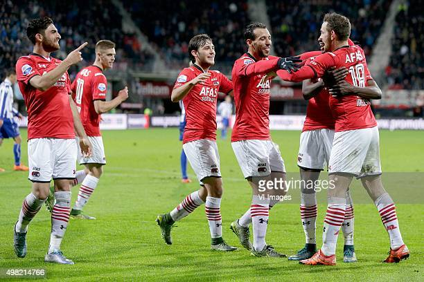 Alireza Jahanbakhsh of AZ Alkmaar Markus Henriksen of AZ Alkmaar Joris van Overeem of AZ Alkmaar Mounir El Hamdaoui of AZ Alkmaar Vincent Janssen of...