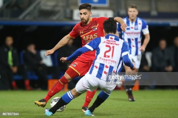 Alireza Jahanbakhsh of AZ Yuki Kobayashi of sc Heerenveen during the Dutch Eredivisie match between sc Heerenveen and AZ Alkmaar at Abe Lenstra...
