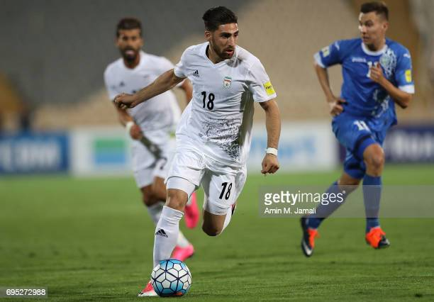 Alireza Jahanbakhsh of Iran in action during FIFA 2018 World Cup Qualifier match between Iran and Uzbekistan at Azadi Stadium on June 12 2017 in...