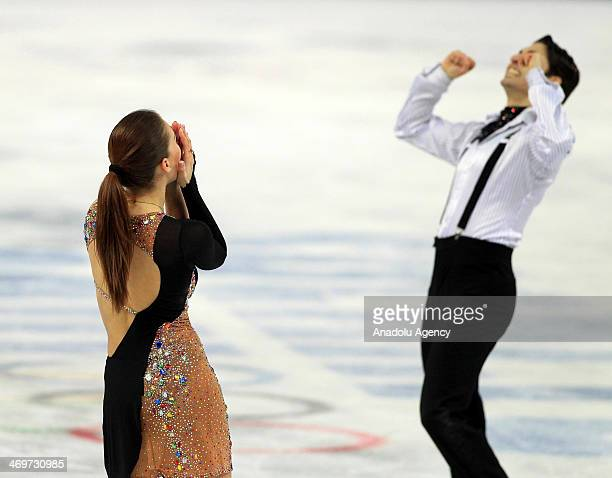 Alisa Agafonova and Alper Ucar of Turkey are happy at the end of their show of short dance at Iceberg Skating Palace during the Sochi 2014 Winter...