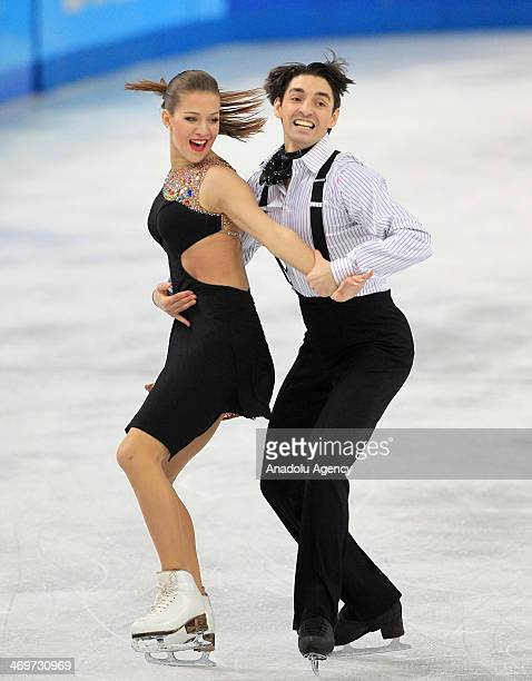 Alisa Agafonova and Alper Ucar of Turkey perform during short dance at Iceberg Skating Palace during the Sochi 2014 Winter Olympics in Sochi Russia...