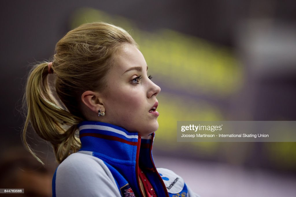 Алиса Федичкина - Страница 15 Alisa-fedichina-of-russia-looks-on-in-the-junior-ladies-free-skating-picture-id844763586