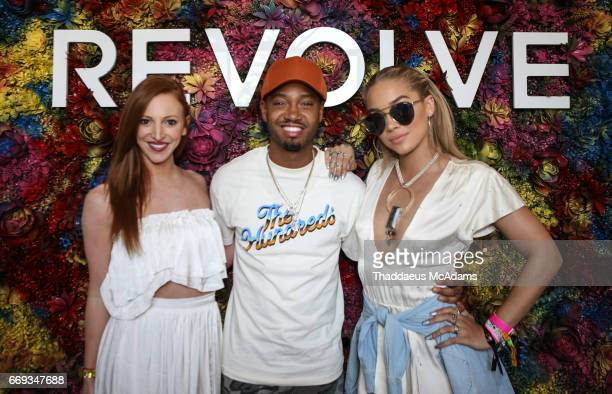 Alisa Jacobs Terrence J and Jasmine Sanders at the REVOLVE Desert House during Coachella on April 15 2017 in Palm Springs California on April 15 2017...