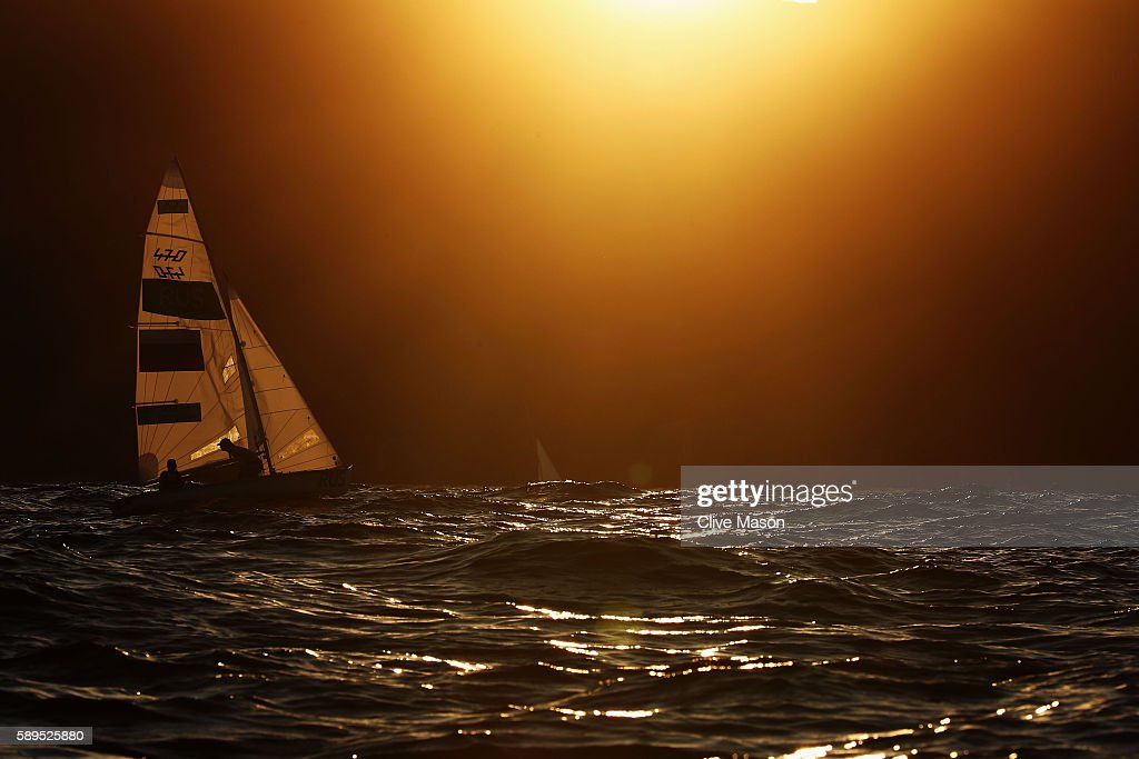 Alisa Kiriliuk of Russia and Liudmila Dmitrieva of Russia sail back to shore after competing in the Women's 470 class on Day 9 of the Rio 2016 Olympic Games at the Marina da Gloria on August 14, 2016 in Rio de Janeiro, Brazil.