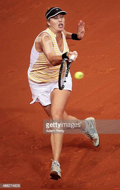 Alisa Kleybanova of Russia hits a forehand during her match against Petra Kvitova of the Czech Republic during day 3 of the Porsche Tennis Grand Prix...