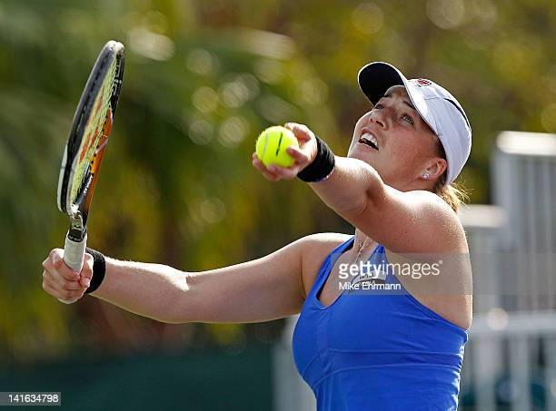 Alisa Kleybanova of Russia in action against Johanna Larsson of Sweden during Day 2 of the Sony Ericsson Open at Crandon Park Tennis Center on March...