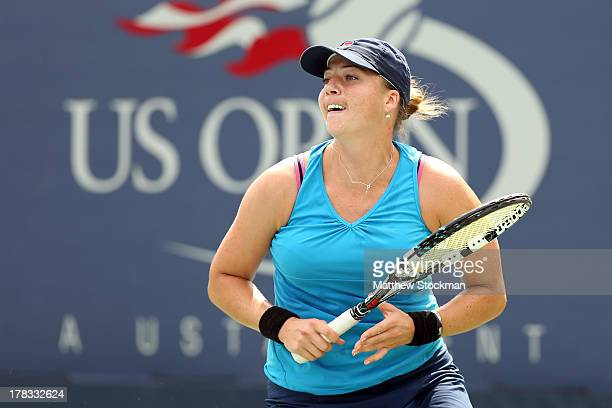 Alisa Kleybanova of Russia in action during her women's singles second round match against Jelena Jankovic of Serbia on Day Four of the 2013 US Open...