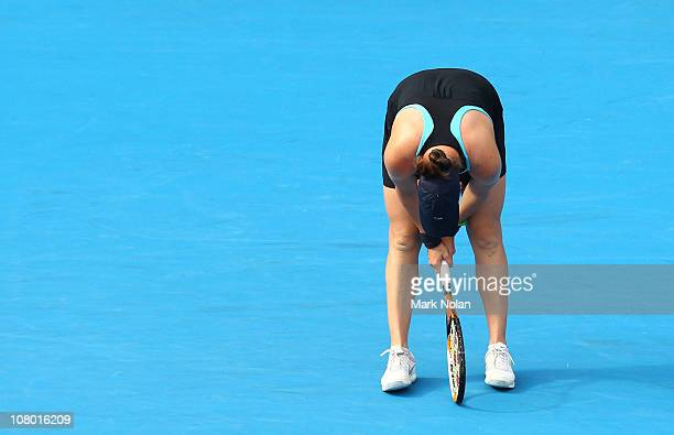 Alisa Kleybanova of Russia looks dejected in her match against Kim Clijsters of Belgium during day five of the 2011 Medibank International at Sydney...