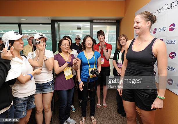 Alisa Kleybanova of Russia meets with Usana guests during the BNP Paribas Open at the Indian Wells Tennis Garden on March 13 2011 in Indian Wells...