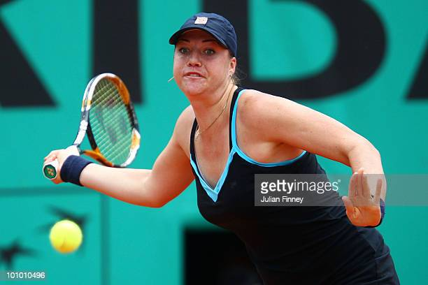 Alisa Kleybanova of Russia plays a forehand during the women's singles second round match between Alisa Kleybanova of Russia and Ana Ivanovic of...