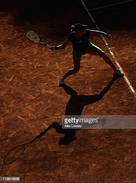 Alisa Kleybanova of Russia plays a forehand shot during her match against Varvara Lepchenko of USA during her first round match against during day...
