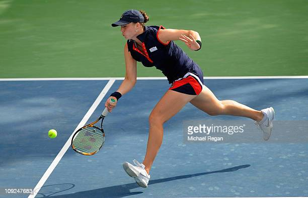 Alisa Kleybanova of Russia plays a shot during her Round 3 match against Vera Zvonareva of Russia during day four of the WTA Dubai Duty Free Tennis...