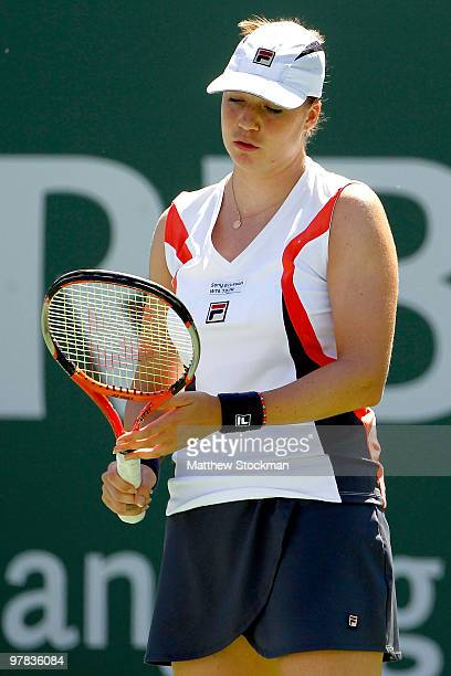 Alisa Kleybanova of Russia reacts to a lost point to Jelena Jankovic of Serbia during the BNP Paribas Open on March 18 2010 at the Indian Wells...