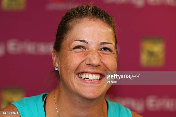 Alisa Kleybanova of Russia talks about her return to tennis after overcoming Hodgkin's Lymphoma during Day 1 of the Sony Ericsson Open at Crandon...