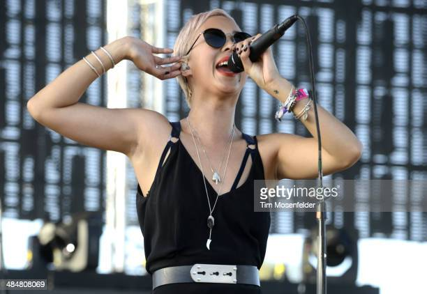 Alisa Xayalith of The Naked and Famous performs as part of the Coachella Valley Music and Arts Festival at The Empire Polo Club on April 13 2014 in...