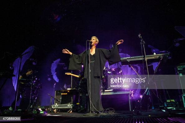 Alisa Xayalith of The Naked and Famous performs at The Frank Erwin Center on February 20 2014 in Austin Texas