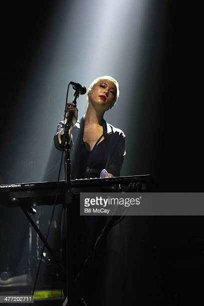 Alisa Xayalith of The Naked And Famous performs at the Susquehanna Bank Center on March 7 2014 in Camden New Jersey