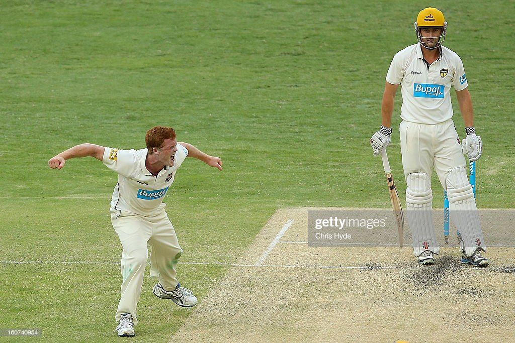 Aliser McDermott of the Bulls celebrates the wicket of <a gi-track='captionPersonalityLinkClicked' href=/galleries/search?phrase=Shaun+Marsh+-+Cricket+Player&family=editorial&specificpeople=236104 ng-click='$event.stopPropagation()'>Shaun Marsh</a> of the Warriors during day two of the Sheffield Shield match between the Queensland Bulls and the Western Australia Warriors at The Gabba on February 5, 2013 in Brisbane, Australia.