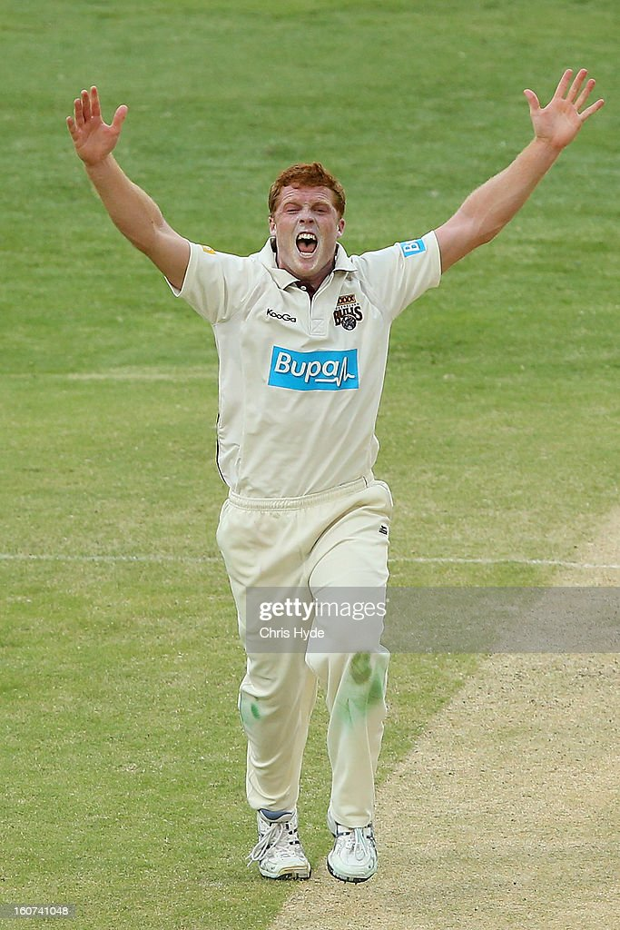 Aliser McDermott of the Bulls successfully apeals for the wicket of <a gi-track='captionPersonalityLinkClicked' href=/galleries/search?phrase=Shaun+Marsh+-+Cricket+Player&family=editorial&specificpeople=236104 ng-click='$event.stopPropagation()'>Shaun Marsh</a> of the Warriors during day two of the Sheffield Shield match between the Queensland Bulls and the Western Australia Warriors at The Gabba on February 5, 2013 in Brisbane, Australia.