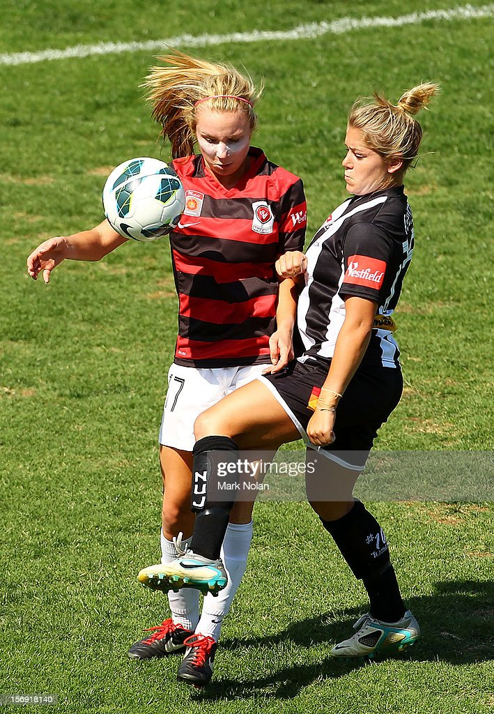 Alisha Bass of the Wanderers and Alisha Foote of the Jets contest possession during the round six W-League match between the Western Sydney Wanderers and the Newcastle Jets at Campbelltown Sports Stadium on November 25, 2012 in Sydney, Australia.