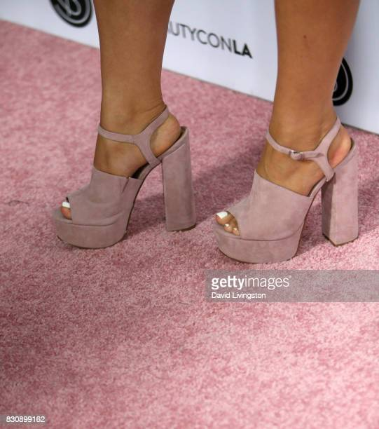 Alisha Marie shoe detail attends Day 1 of the 5th Annual Beautycon Festival Los Angeles at the Los Angeles Convention Center on August 12 2017 in Los...