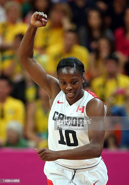 Alisha Tatham of Canada celebrates afte making a three point shot against Australia during the Women's Basketball Preliminary Round match on Day 9 of...