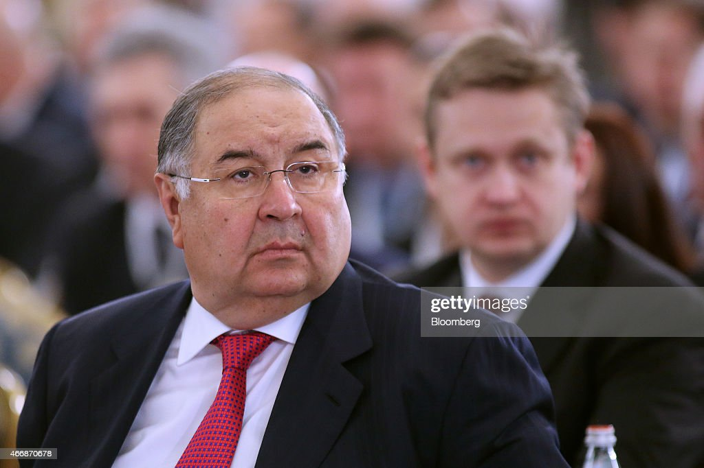 <a gi-track='captionPersonalityLinkClicked' href=/galleries/search?phrase=Alisher+Usmanov&family=editorial&specificpeople=5595265 ng-click='$event.stopPropagation()'>Alisher Usmanov</a>, Russian billionaire and owner of USM Holdings Ltd., left, attends a meeting of the Russian Union of Industrialists and Entrepreneurs (RSPP) during Russia Business Week in Moscow, Russia, on Thursday, March 19, 2015. The worst is over for Russia's economy after a tailspin in oil prices and sanctions over Ukraine choked off access to credit and sparked the biggest currency crisis since 1998, according to Russia's Finance Minister Anton Siluanov. Photographer: Andrey Rudakov/Bloomberg via Getty Images