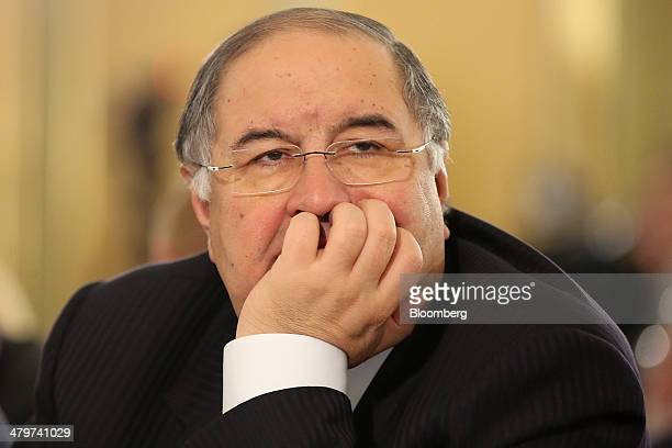 Alisher Usmanov Russian billionaire and owner of USM Holdings Ltd pauses at a meeting of the Russian Union of Industrialists and Entrepreneurs during...