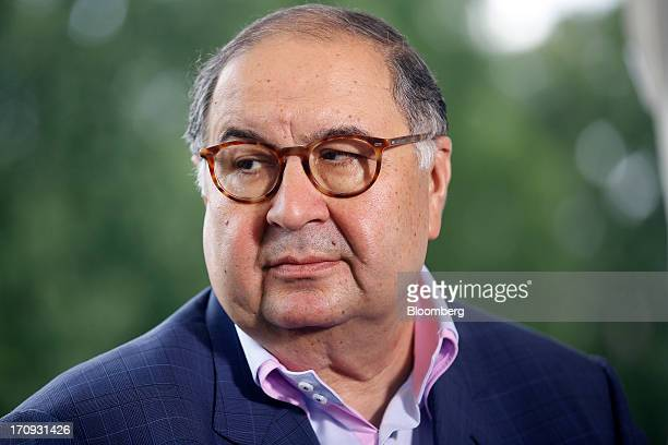 Alisher Usmanov Russian billionaire owner of USM Holdings Ltd pauses during a Bloomberg Television interview on the opening day of the St Petersburg...