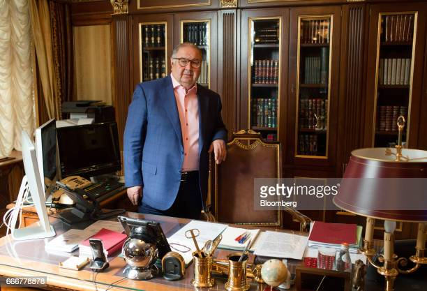 Alisher Usmanov Russian billionaire poses for a photograph at his office in Moscow Russia on Thursday April 6 2017 Arsenals secondbiggest...
