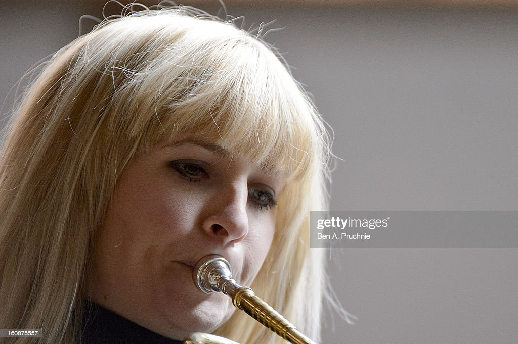 Alison Balsom performs at the press launch of the new season at Shakespeare's Globe on February 7, 2013 in London, England.