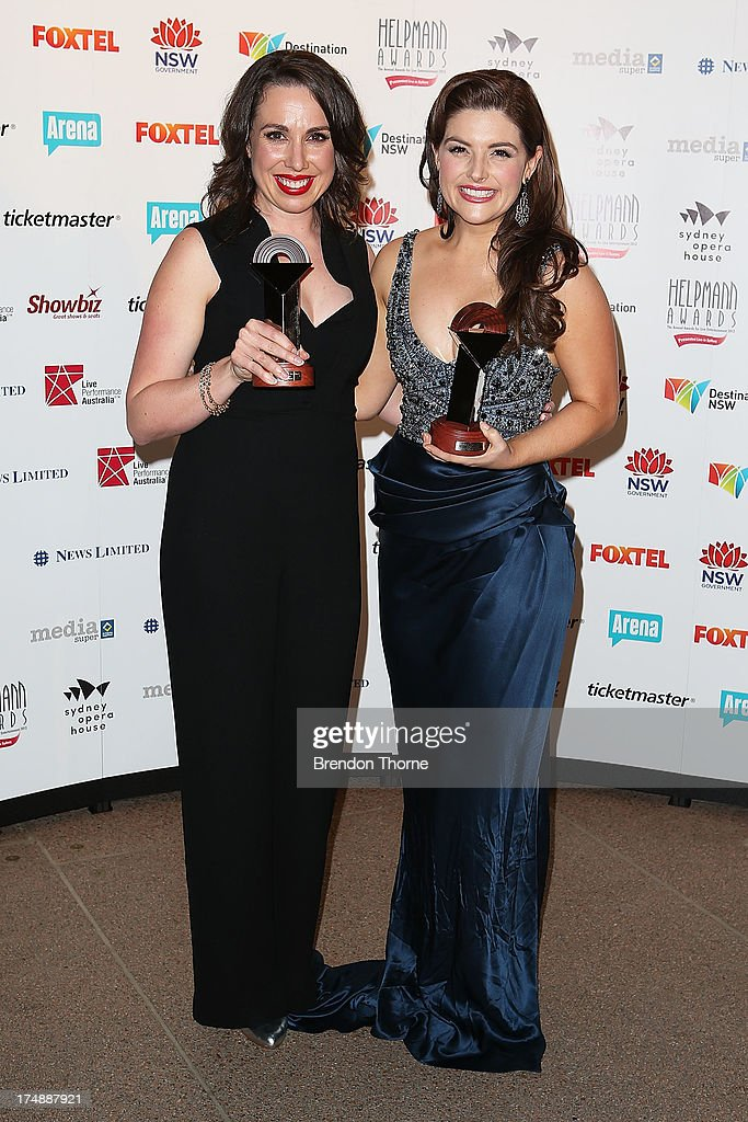 Alison Bell poses with the award for Best Female Actor in a Play and Lucy Durack poses with the award for Best Female Actor in a Musical at the 2013 Helpmann Awards at the Sydney Opera House on July 29, 2013 in Sydney, Australia.