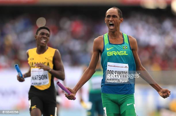 Alison Brendom Dos Santos of Brazil celebrates winning the mixed 4x400m relay during day five of the IAAF U18 World Championships on July 16 2017 in...
