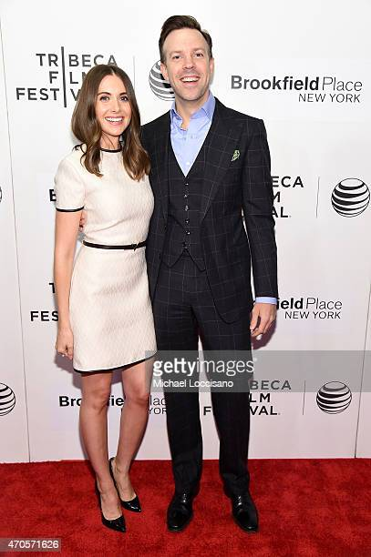 Alison Brie and Jason Sudeikis attend the premiere of 'Sleeping With Other People' during the 2015 Tribeca Film Festival at BMCC Tribeca PAC on April...
