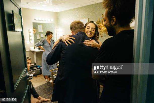 Alison Brie chats in the green room with James Corden and Reggie Watts during 'The Late Late Show with James Corden' Wednesday June 21 2017 On The...