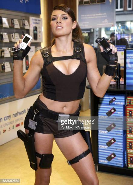Alison Carroll posing as Lara Croft at the launch of the new Sony mobile phone the W910 Gaming Edition which comes preloaded with the latest Tomb...