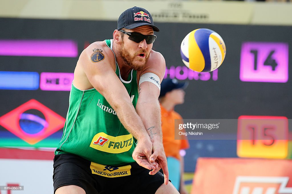 <a gi-track='captionPersonalityLinkClicked' href=/galleries/search?phrase=Alison+Cerutti&family=editorial&specificpeople=5588493 ng-click='$event.stopPropagation()'>Alison Cerutti</a> of Brazil receives a ball during a game between Netherlands and Brazil on day 6 of the FIVB Moscow Grand Slam at sports complex Dynamo Vodny Stadium on May 29, 2016 in Moscow, Russia.