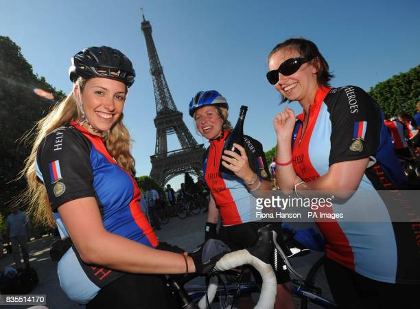 Alison Davies Victoria Holman 24 and Jennifer Poole three cyclists fundraising for Help for Heroes on the Band of Brothers bike ride complete their...