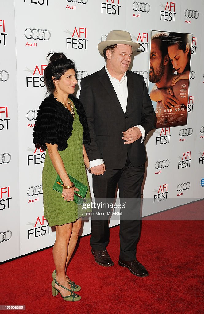 Alison Dickey and actor <a gi-track='captionPersonalityLinkClicked' href=/galleries/search?phrase=John+C.+Reilly&family=editorial&specificpeople=210786 ng-click='$event.stopPropagation()'>John C. Reilly</a> arrive at the premiere of 'Rust and Bone' during the 2012 AFI Fest presented by Audi at Grauman's Chinese Theatre on November 5, 2012 in Hollywood, California.