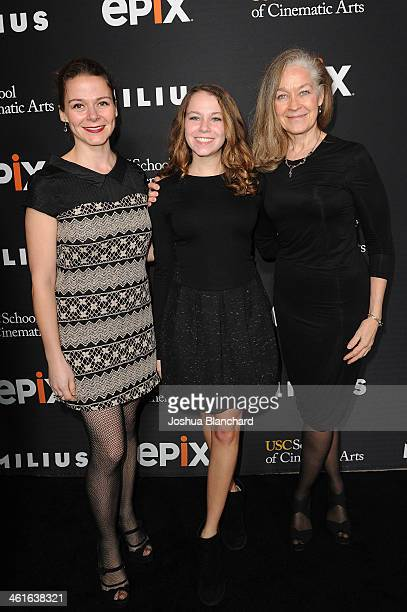 Alison Friedman Hannah Ryan and Nora Ryan arrive at EPIX USC Host An Evening With John Milius at USC Norris Theatre on January 9 2014 in Los Angeles...