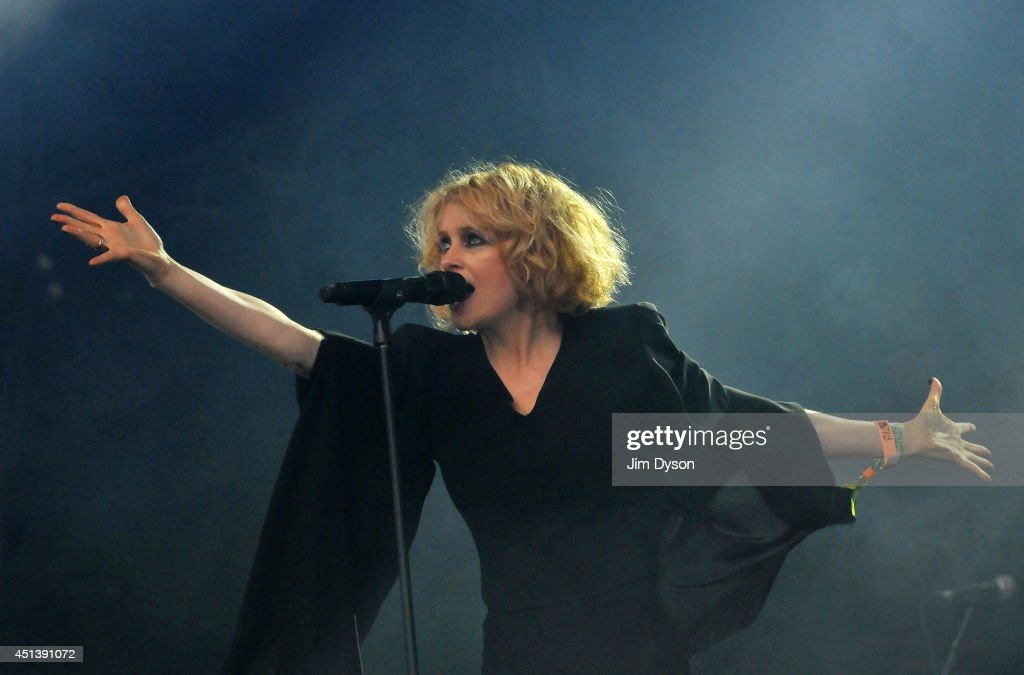 Alison Goldfrapp performs on the West Holts stage during day two of the Glastonbury Festival at Worthy Farm in Pilton on June 28, 2014 in Glastonbury, England. Tickets to the event, which is now in its 44th year, sold out in minutes even before any of the headline acts had been confirmed. The festival, which started in 1970 when several hundred hippies paid £1, now attracts more than 175,000 people.